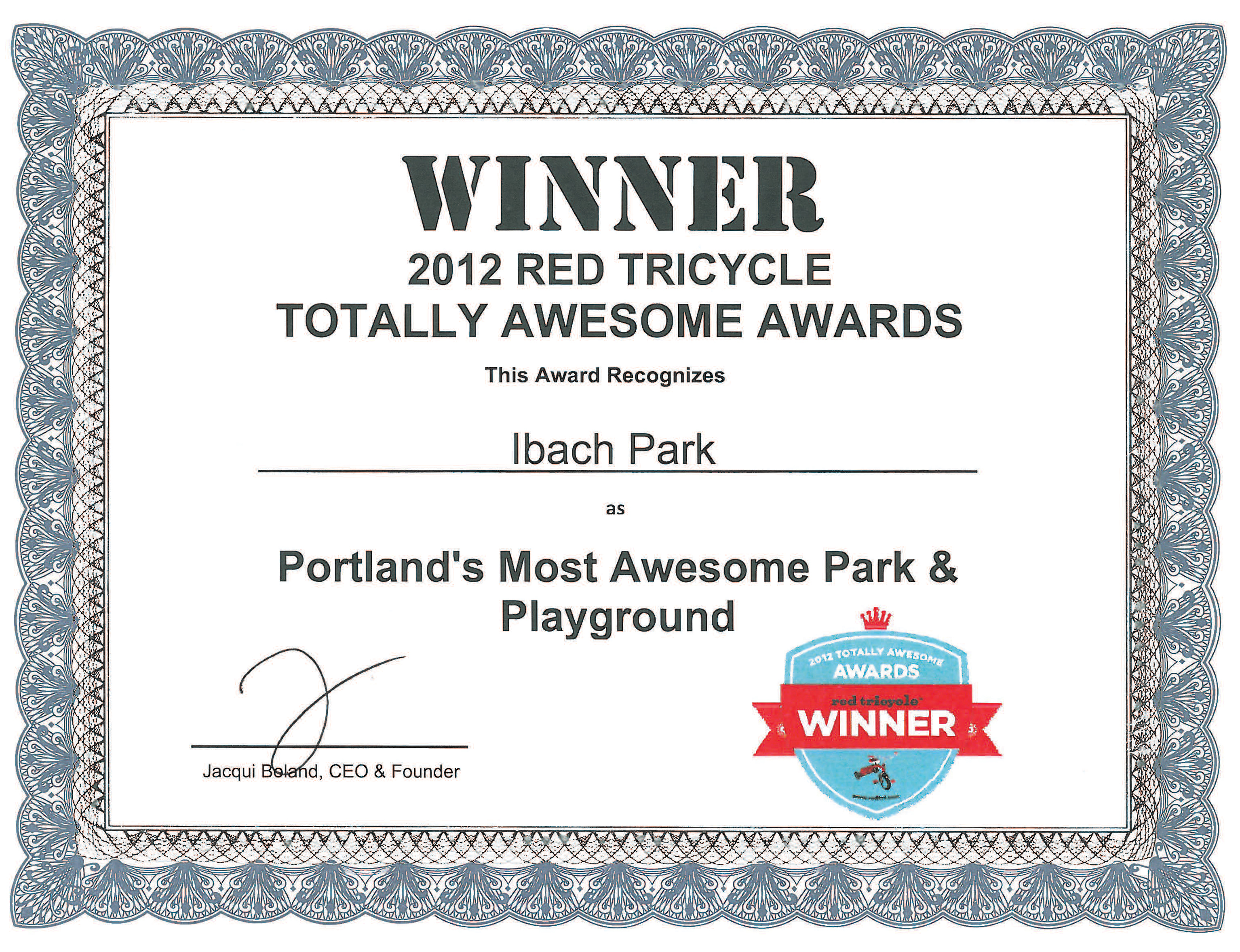 Ibach Park Wins 2012 Red Tricycle Totally Awesome Award – Winner Certificate