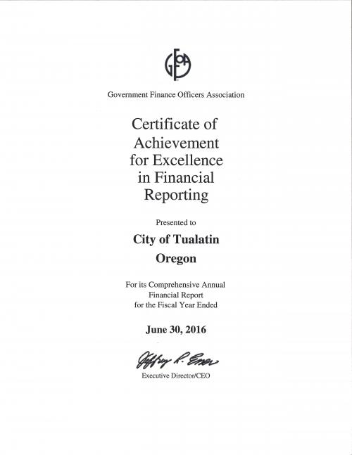City of Tualatin Awarded the Certificate of Achievement for ...